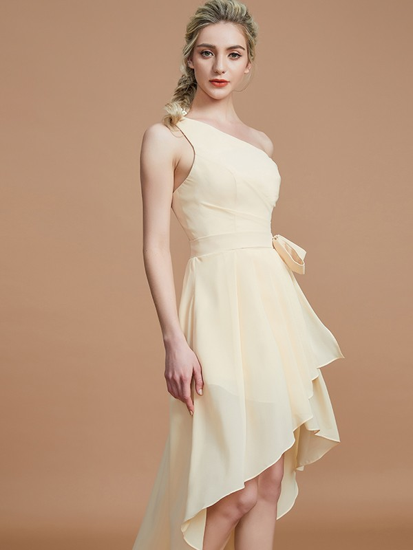 c5bd224b71 ... A-Line Princess One-Shoulder Layers Asymmetrical Chiffon Bridesmaid  Dress ...