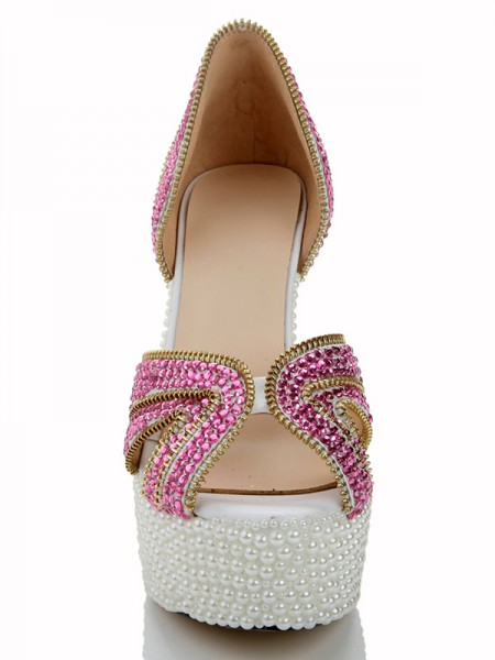 Charol Pearls Diamond Sandalias Tacones altos